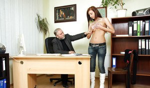 Tanned young secretary is getting fucked hard right in the office