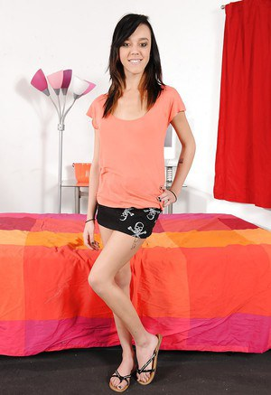 Skinny young brunette Angela DAngelo is penetrating her puss with toys