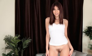 Babe Hazel Rose shows her sweet unshaved pussy on the camera