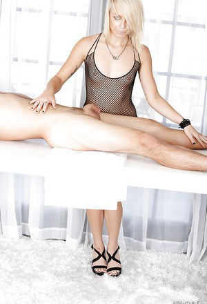 Masseuse Carmen Callaway is wanking this hard dick and fucking in puss