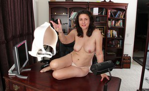 Mature beauty Gianna Jones is touching her hard and horny nipples