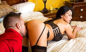 Tanned Audrey Bitoni is being fucked hard in doggy style pose