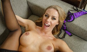 Milf blonde Nicole Aniston suck a dick and fucks in her hairy hole