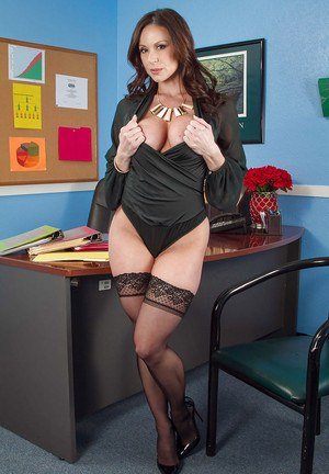 Office brunette Kendra Lust takes off her working clothes on cam