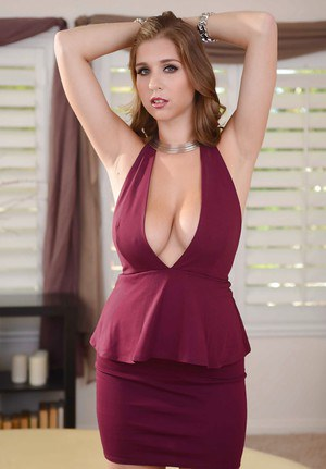 Housewife brunette Alex Chance shows off her truly stunning big boobs