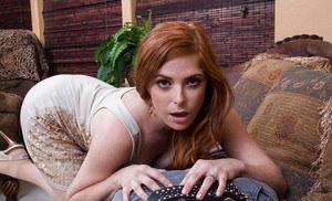 Redhead babe Penny Pax is licking this pretty tasty hard dick