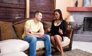 Ebony Cherry Hilson is playing with her friend's hard prick!