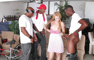 Pigtailed Summer Daniels is getting gangbanged in interracial way
