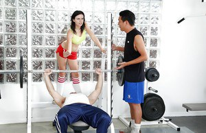 Two sporty chicks are giving a blowjob for this muscular man