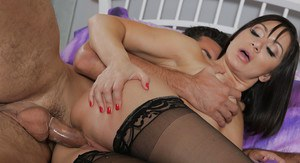 Sexy babe in black stockings is fucking hard in doggy style pose