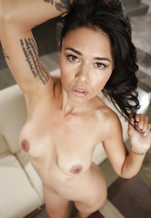 Tattooed Asian Dana Vespoli shows her stunning hairy vagina!