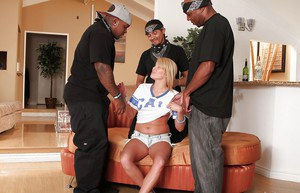 Interracial gangbang with young slut blonde Aiden Aspen in the bed