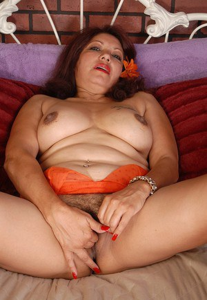 Big-tit fatty mature Flor is demonstrating her nice-looking ass