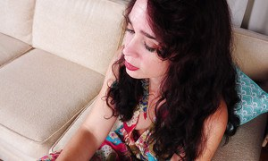 Spicy as hell curly-haired brunette Sable is touching her little hole