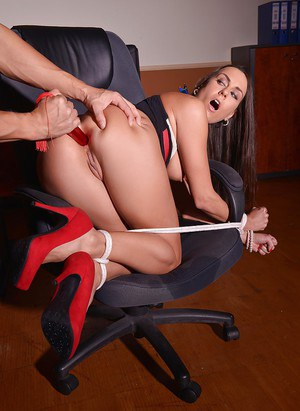 Gorgeous BDSM banging with an awesome brunette Mea Melone at office