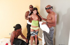 Interracial gangbang with awesome long-haired brunette Trinity