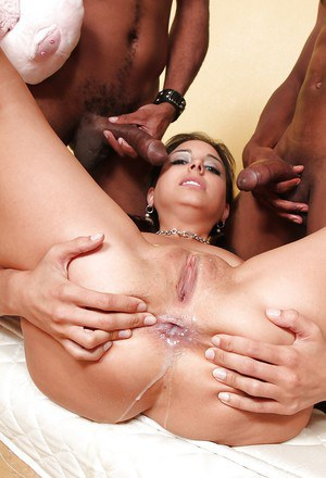 Sexy brunette Trinity St. Clair is being pounded by big black dicks