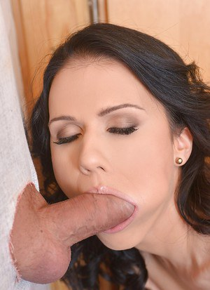 Sweetie brunette Denise gives a deep blowjob through the gloryhole!