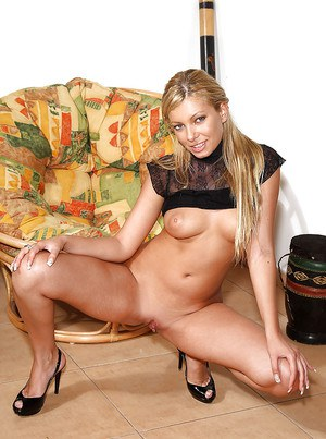 Amateur European blonde Donna Bell stretched her tight snatch