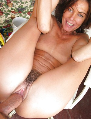 Mature Nancy Vee sucks a dick and fucks in her tight hairy pussy
