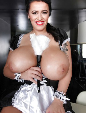 Leanne Crow plays with her truly giant European boobies in close-up
