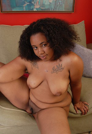 Mature fat ebony Champagne shows how hairy her hot pussy is!