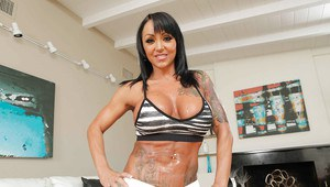Tattooed Latina MILF Ashton Blake shows off her sweet big natural tits