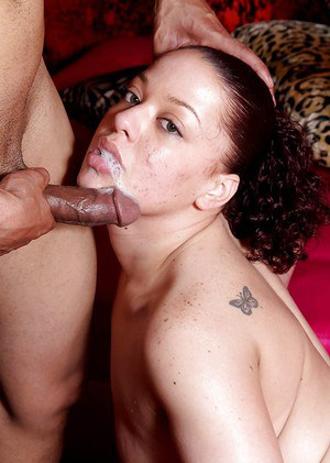 Ebony Michelle Haze sucks a nice cock and swallows sperm load