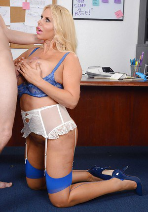Mature blonde Karen Fisher was drilled hard in her tight vagina