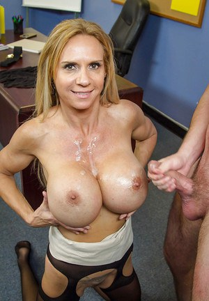 Cougar blonde Brooke Tyler gets a big load of sperm on her boobs