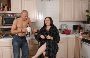 Cute fat brunette Sonia is banging in the kitchen with bald man