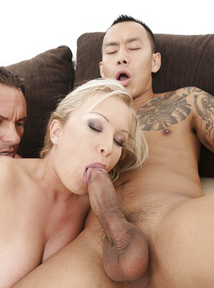 Sweetie blonde Jessica Moore fucks with two small Asian dicks