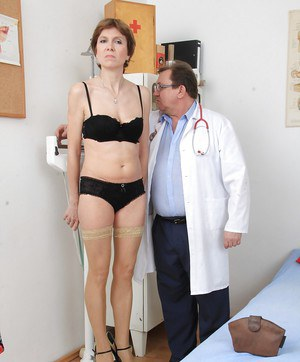 Hardcore slutty mature Oslava is getting some medical tools in her vag