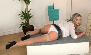 Golden blonde Vienna Reed is showing off her amazing fuckable ass
