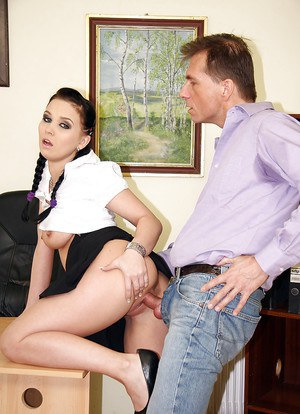 Pigtailed brunette secretary suck a dick of her new hardcore boss