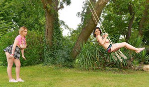 Stunning chicks Luna Amor and LiLy Madison are posing naked outdoors