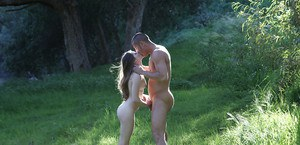 Outdoor blowjob by slender young brunette Alice March on the grass