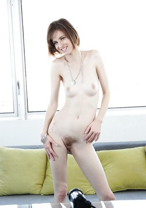 Amateur brunette Jay Taylor slowly takes off her clothes and fingers
