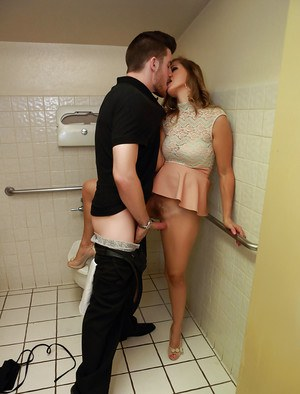 Milf pornstar Miss Melrose fucks in the toilet with a young man