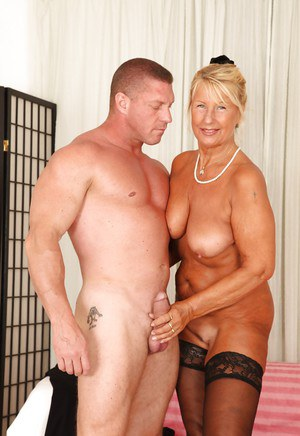 Muscular man is fucking slutty blonde granny Granny in her face