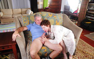 Curly-haired model granny Dalny gets a nice pink dick in mouth