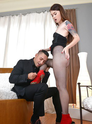 Teen Misha Cross is sucking her boss's hard prick and swallowing