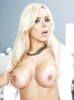 Innocent milf blonde with red lips Nina Elle is swallowing this dong