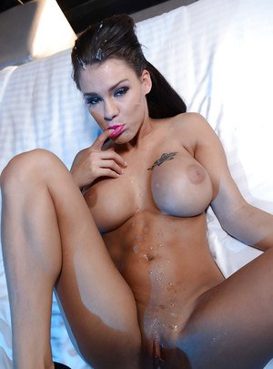 Big-tit slender brunette Peta Jensen is sucking this giant dick