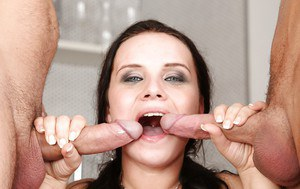 Two guys are fucking slender brunette Wendy Moon in her mouth