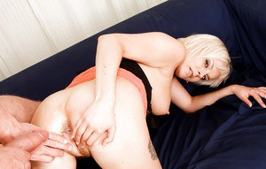 Tattooed blonde Laura Sweet is getting fucked in her hairy vagina