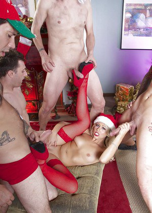Spicy Zoey Monroe and Kayla Kayden in a hardcore Christmas gangbang
