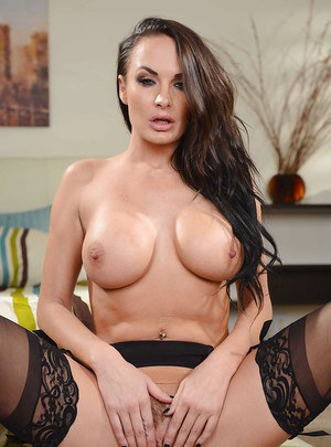 Outstanding brunette Chloe Amour shows off her big nice boobies