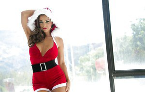 Babe Abigail Mac is taking off her Christmas outfit pretty sensual