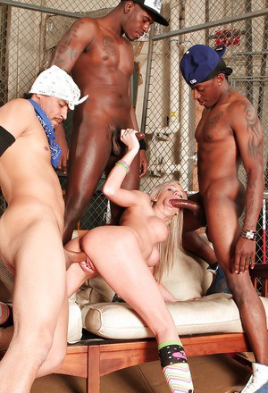 Insane interracial gangbang with young blonde Kaylee Hilton!